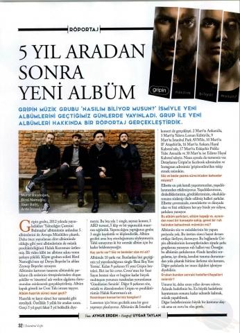 İstanbul Life Dergisi Mart 2018 Sayısı Gripin Röportajı